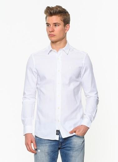 Mavi Uzun Kollu Klasik Gömlek Beyaz